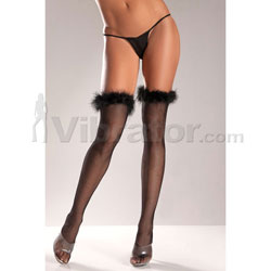 Fishnet Thigh High's With Marabou Trimmed Top