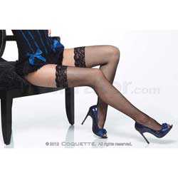 Fishnet Thigh High w/ Lace Top Black