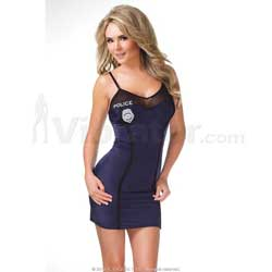 Lycra/ Mesh Cop Dress w/ Police Patches