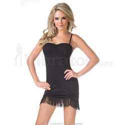 Dress w/ Fringe Hem Black