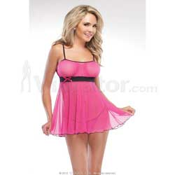 Gathered Mesh Babydoll & G-String