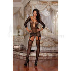 Fishnet Garter Dress With Thigh Highs